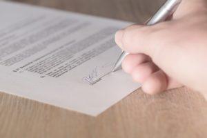 Signature sur feuille