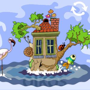 Maison entourée par de l'eau et des animaux