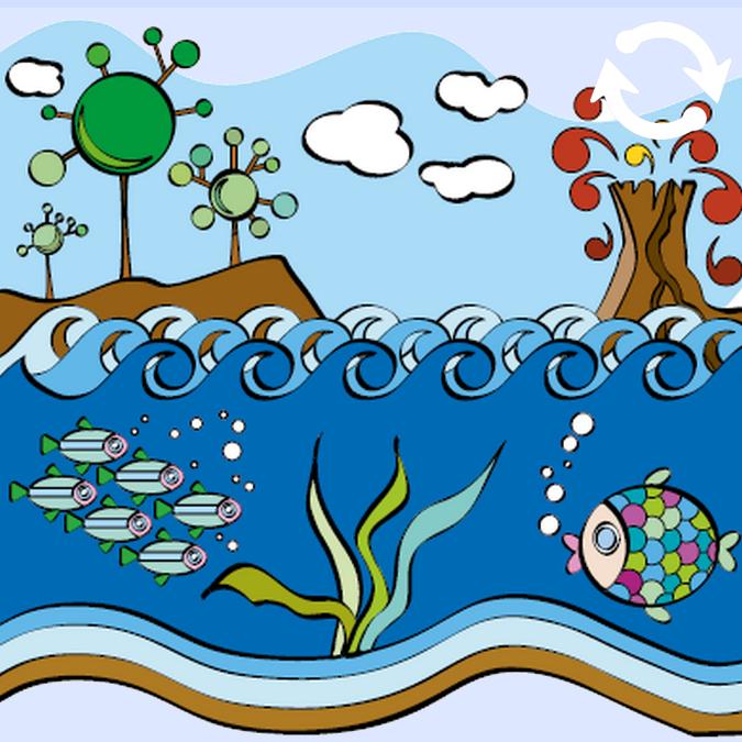 Rivière avec des poissons et sur la berge, se trouvent des arbres et un volcan en éruption