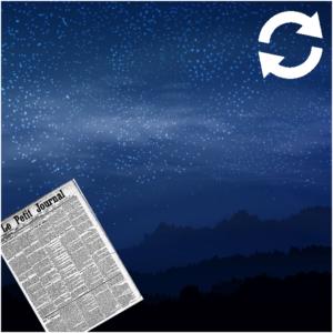 Journal en avant plan et ciel étoilé en arrière plan
