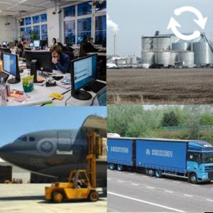 Images d'industries et de moyens de transport commerciaux