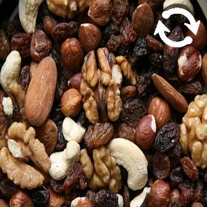 Fruits secs : noix, noix de cajou, noisettes, amandes et raisins secs