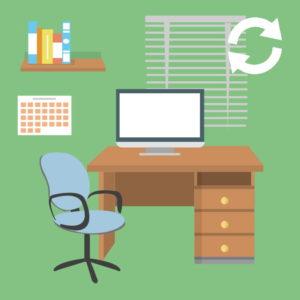 Bureau avec ordinateur, calendrier et fardes