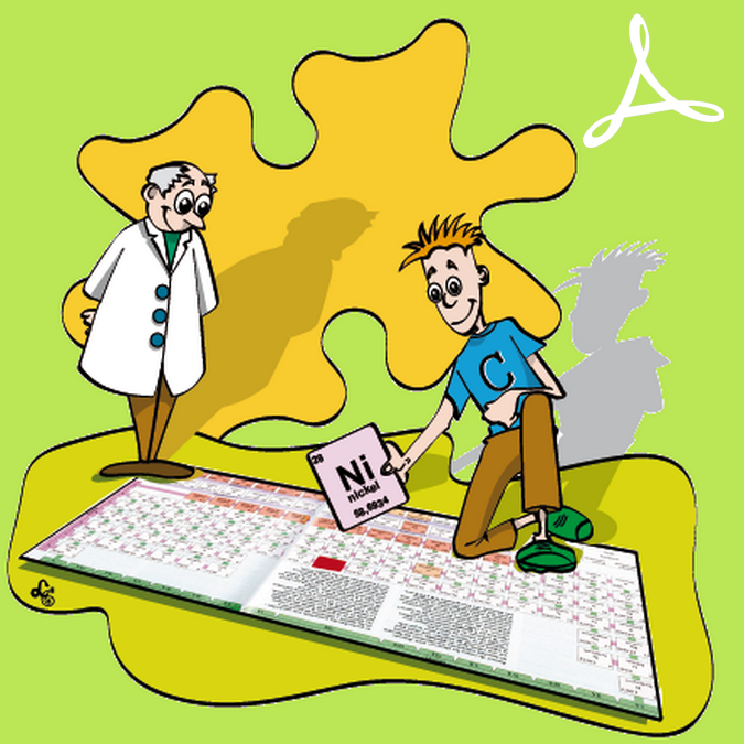 Deux personnages sur un tableau périodique des éléments