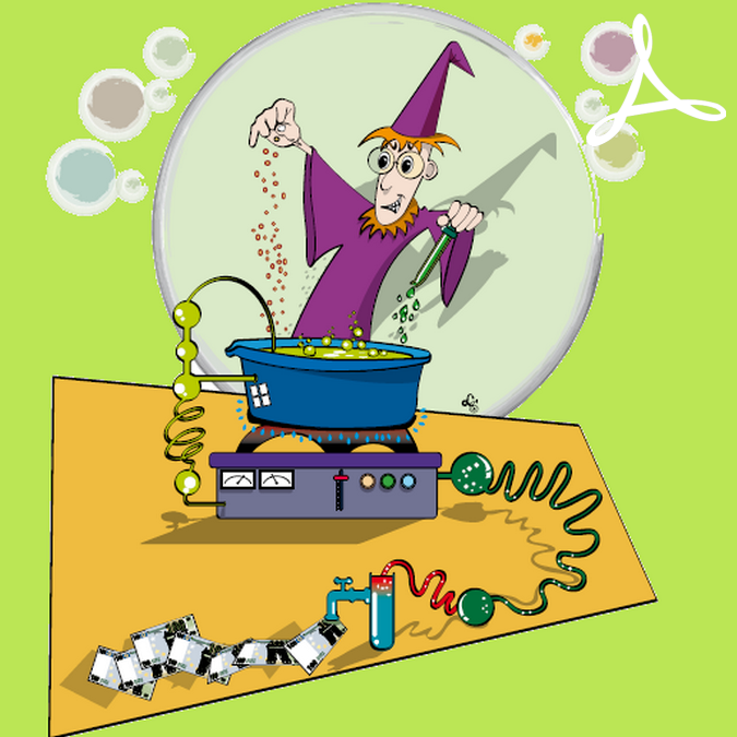 Magicien faisant une potion magique qui crée des billets de banque