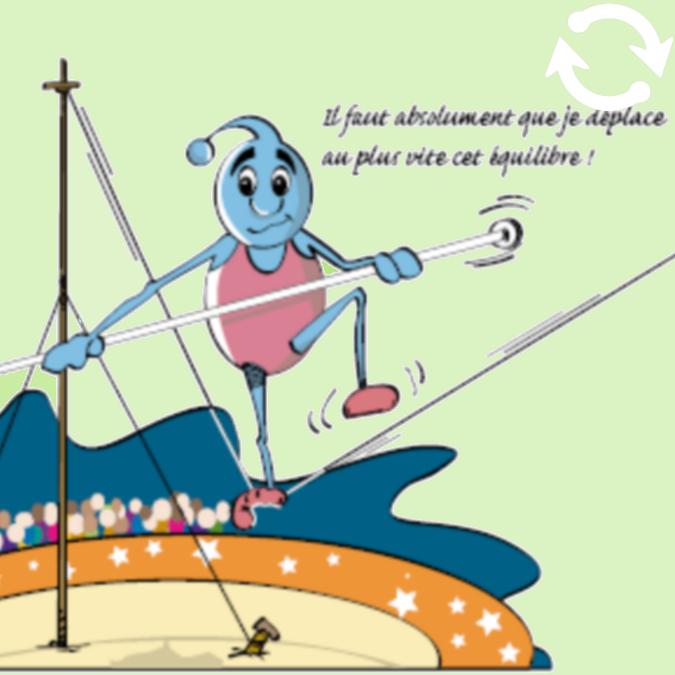 Personnage pratiquant l'équilibrisme