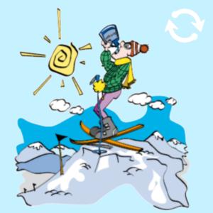 Personnage sur ski buvant sa gourde