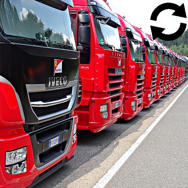 Rangée de camions