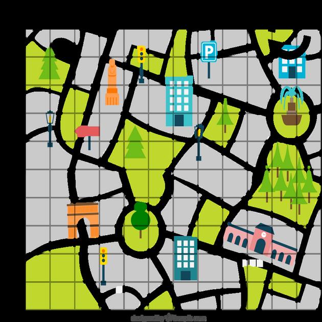 Ville dessinée dans une grille de jeu