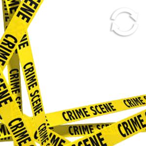 Banderolles jaunes de scène de crime