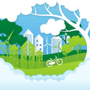 Paysage représentant la nature. S'y trouvent : un vélo, des maisons, des arbres et des éoliennes