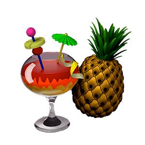 Ananas et verre de cocktail