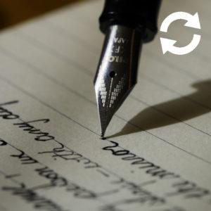 Stylo écrivant sur une feuille de papier