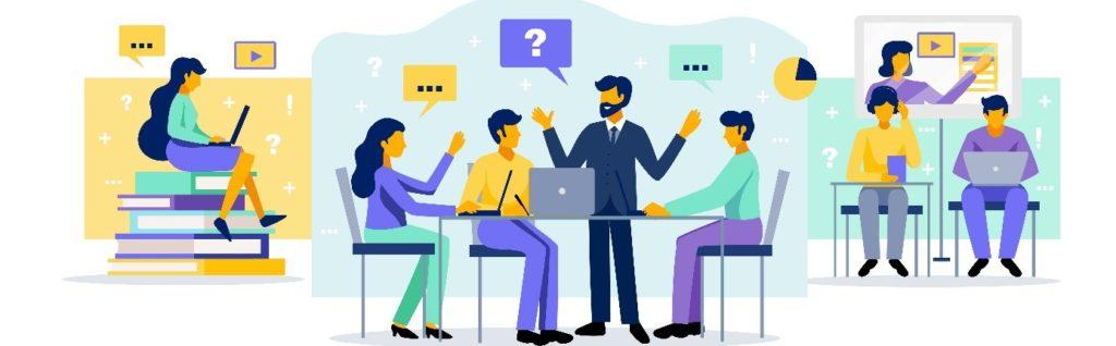 Personnes travaillant sur un ordinateur et discutant en réunion